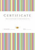 Colorful Certificate / Diploma template. Background design with lines (stripy) pattern