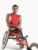 Portrait of a paraplegic cycler against white background