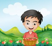 Illustration of a boy holding a basket of strawberries