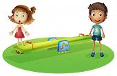 picture of seesaw  - Illustration of a girl and a boy near the seesaw on a white background  - JPG