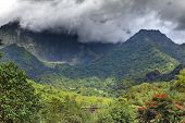 Tahiti. Polynesia. Clouds over a mountain landscape. Panorama