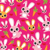 Seamless bunny kids rabbit and carrot illustration background pattern in vector
