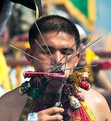 PHUKET, THAILAND- OCT 23: Unidentified participant of parade on October 23, 2012 Vegetarian Festival