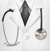 Close up of a doctors lab white coat and stethoscope. Vector illustration.