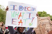NEW YORK-MAY 25: At the March Against Monsanto in Union Square a protestor holds a sign that says 'I Decide What I Eat' on May 25, 2013 in Manhattan. The rally was part of a global movement.