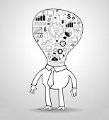 Business get idea. Cartoon businessman with a light bulb and doodle icons. File stored in version AI10 EPS. This image contains transparency.