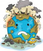Illustration of Crying Earth Due to Pollution