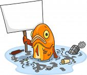 Illustration of Sad Fish in Polluted Water Carrying a Blank Board