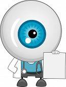 Постер, плакат: Иллюстрация глазного яблока доктор талисман Холдинг пустой рецепт