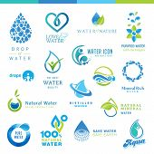 stock photo of minerals  - Set of icons for different type of water - JPG
