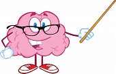 Smiling Brain Teacher Character Holding A Pointer