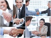 Collage of various pictures showing business people shaking hands