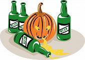 pic of puke  - Vector illustration of a Pumpkin and beer bottles isolated on white background - JPG