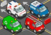 Isometric Trucks Firefighters, Police, Ambulance, Garbage Collector In Front View