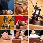 Set of wooden gavel and law