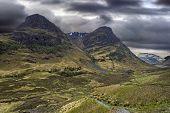 Glencoe Mountains on a stormy day, Scotland
