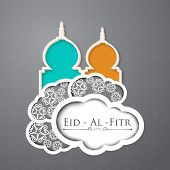 Muslim community festival Eid Al Fitr (Eid Mubarak) concept with illustration of mosques on creative