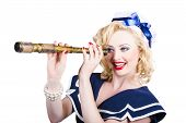 Attractive Pinup Sailor Girl With A Monocular