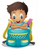 Illustration of a boy inside a schoolbag on a white background