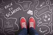 stock photo of red back  - Creative concept with Back to school theme - JPG