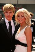Cody Linley and Juliana Huff  At the 60th Primetime Creative Arts Emmy Awards Red Carpet. Nokia Live