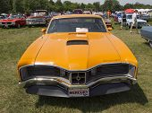 1970 Orange Mercury Cyclone Spoiler Front View