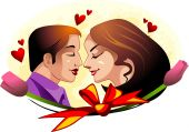 stock photo of kissing couple  - Illustration of couples in face to face love with him - JPG