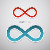 Vector Red And Blue Paper Infinity Symbols