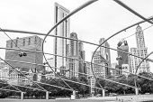 Architecture of Chicago, Jay Pritzker pavilion and skyline, monochrome