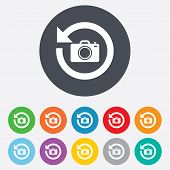 Front photo camera sign icon. Change symbol.