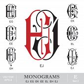 Vintage Monograms EJ EG EK EE EL EH EJ