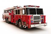 foto of ladder truck  - Firetruck on a white background - JPG