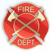 stock photo of maltese-cross  - Fire department Maltese cross badge or symbol with axes - JPG