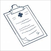 Prescription, case history card isolated on white.