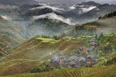 Rural China, Peasant Village In Countryside, Mountain Region, Rice Paddies.