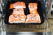 Freshly Baked Salmon In Oven Tray