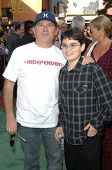 Brandon Cruz and son Lincoln at the World Premiere of