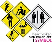 sign board-heartbroken sig board concept icon set