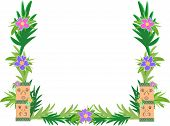 Frame of Tiki and Hibiscus Flowers