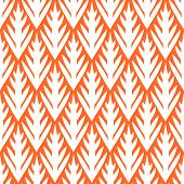 Simple trees geometric ikat seamless pattern in orange, vector