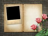 Card For Invitation Or Congratulation With Pink Rose And Old Pho