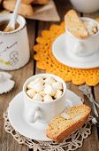 A Cup Of Hot Chocolate With Pumpkin Biscotti
