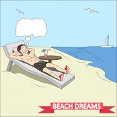 Doodle man dreams at the beach vector