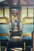stock photo of passenger train  - Last century rail car interior - JPG