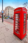 British icon red phone boot in Oxford Street in London, UK