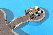 artificial islet in the pool