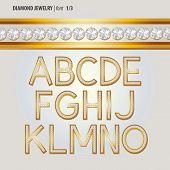 Classic Diamond Jewelry Alphabet Vector