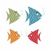 Abstract Retro Fish Set Illustration