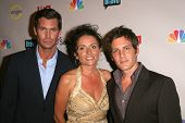 Jeff Lewis with Jenni Pulos and Ryan Brown  at the NBC Universal 2008 Press Tour All Star Party. Bev