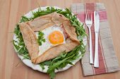 Galette de sarasin - French Buckwheat crepe with egg and bacon